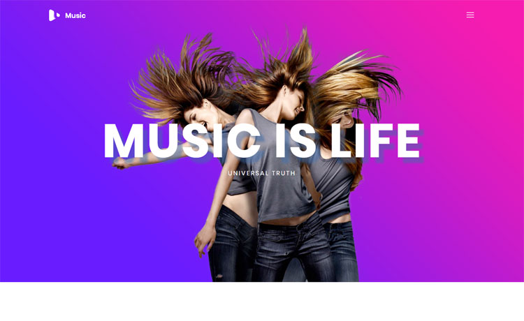 Free Bootstrap HTML5 Music Website Template