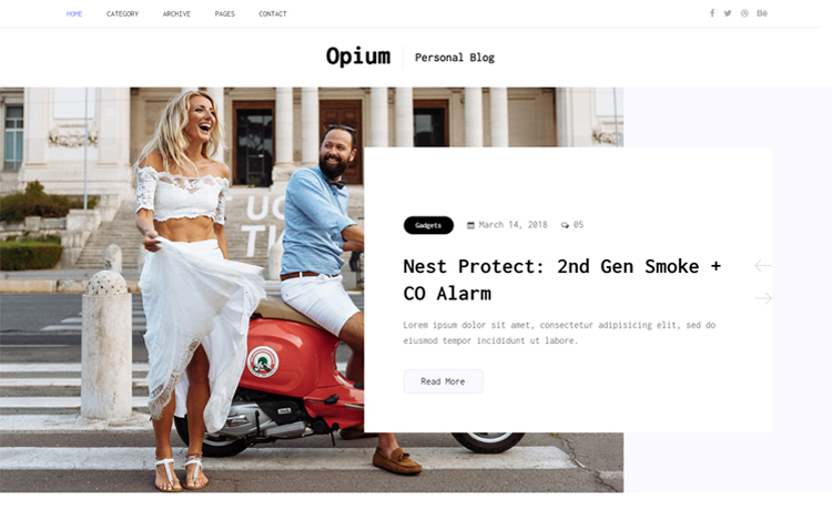 Opium - free Bootstrap 4 HTML5 personal blog website template