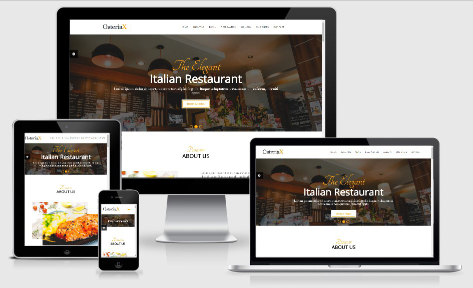 OsteriaX HTML5 Bootstrap based free restaurant template download