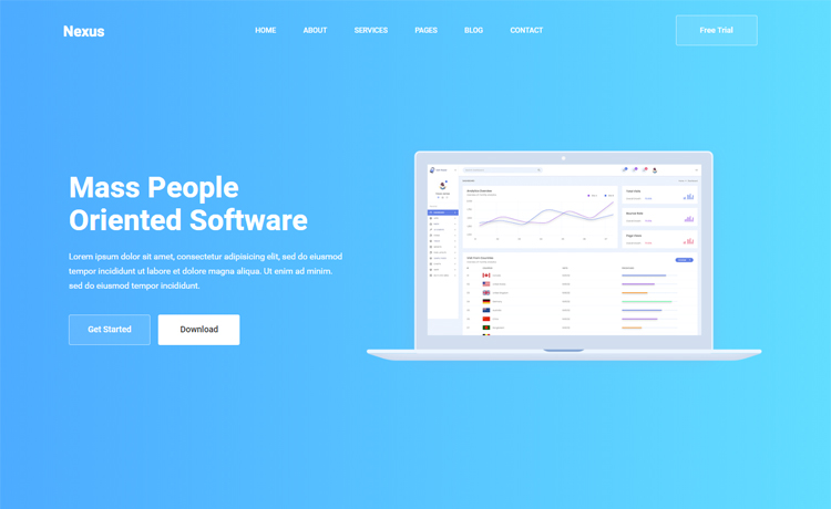 Free Bootstrap 4 HTML5 app landing page website template  Top 10+ Premium and Free Software Landing Page HTML5 2021 Nexus 1
