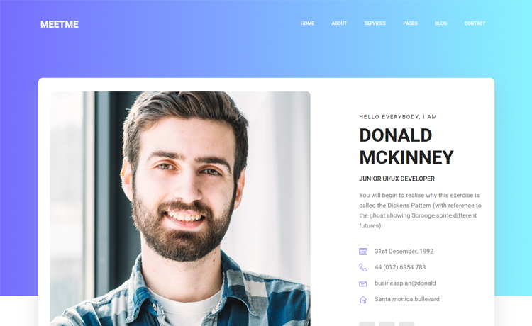 Free Bootstrap 4 personal portfolio website template for web developers