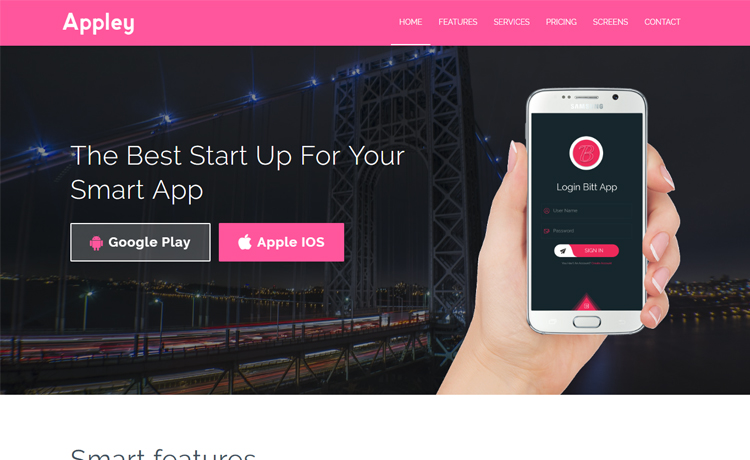 Free Bootstrap HTML5 app landing page template