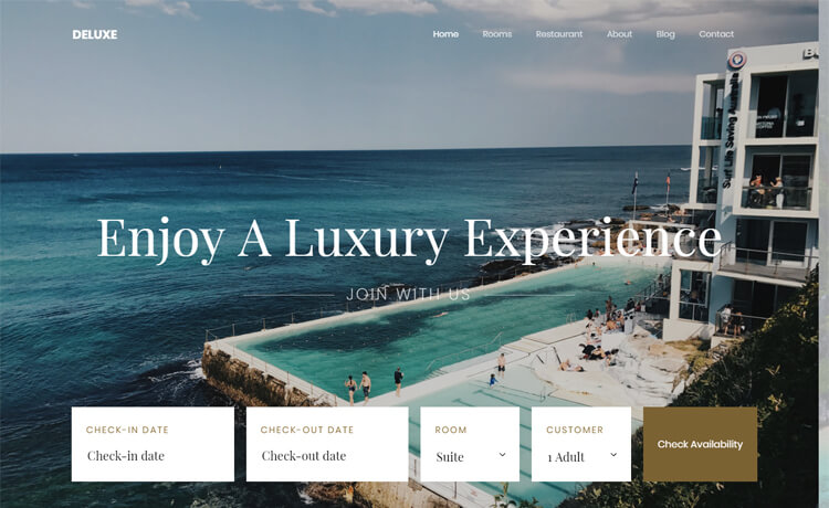 Free Bootstrap 4 HTML5 hotel resort website template