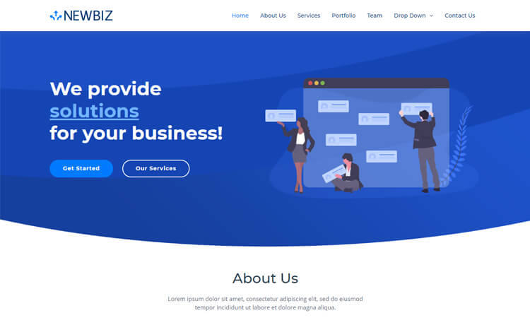 Newbiz Free Bootstrap 4 Html5 Corporate Business Website Template