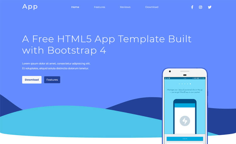 Free HTML5 Bootstrap 4 app landing page template