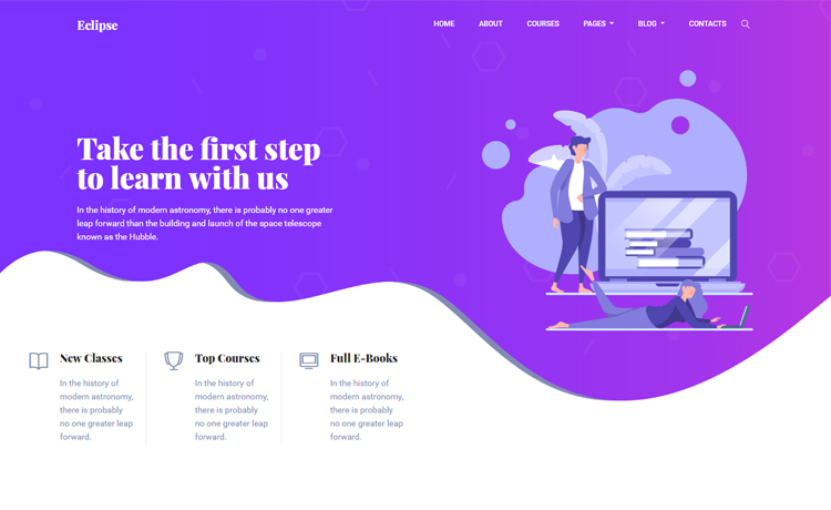 Free Bootstrap 4 HTML5 e-learning website template