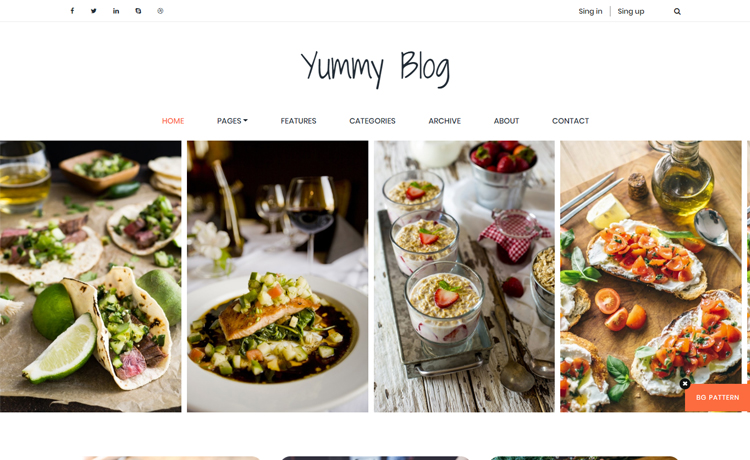 Free HTML5 food blog website template