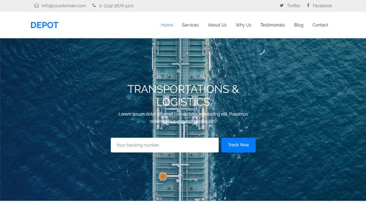 Free Bootstrap 4 HTML5 One Page Transportation Website Template