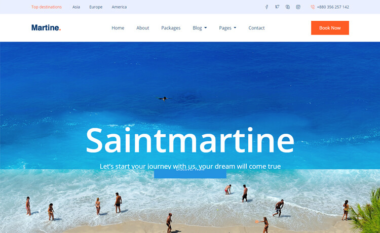 Travel Agency Website >> Martine Free Bootstrap 4 Html5 Travel Agency Website Template