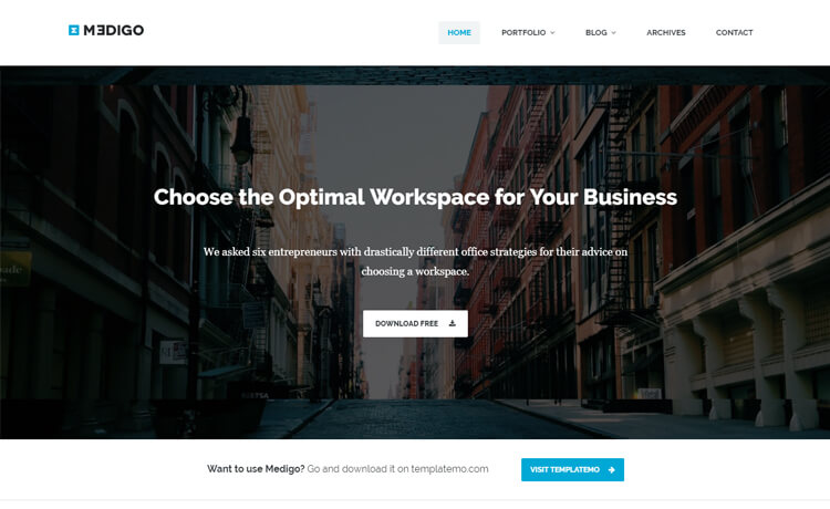 free responsive professional business portfolio website template