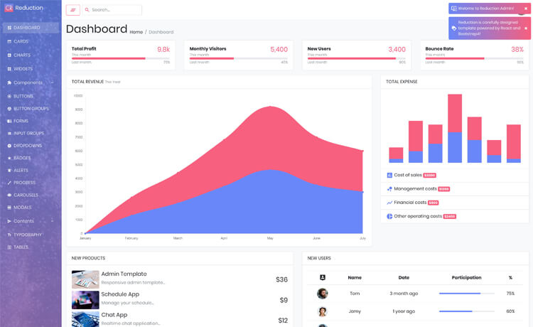 Free React Bootstrap 4 Admin Dashboard Template