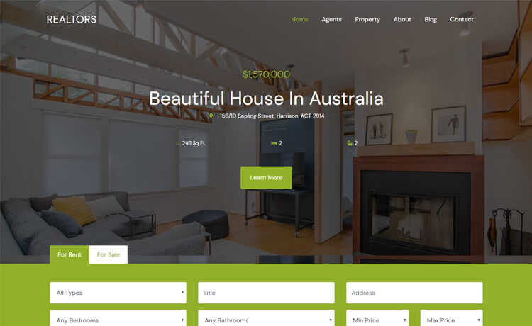 Free HTML5 Bootstrap 4 Responsive Real Estate Agency Website Template