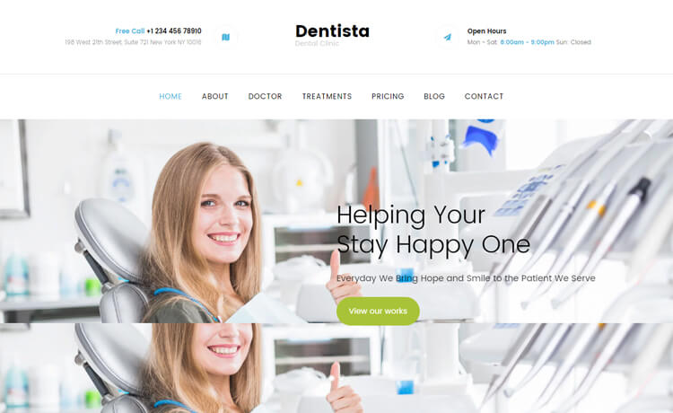 Free Bootstrap 4 HTML5 Responsive Dental Website Template