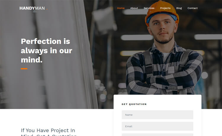 Free Bootstrap 4 HTML5 Building Construction Website Template