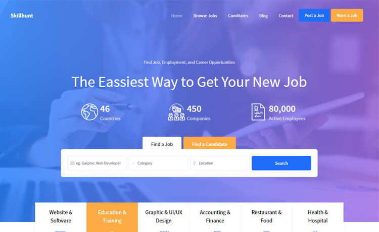 Free Bootstrap 4 HTML5 Multi-page Job Board Website Template