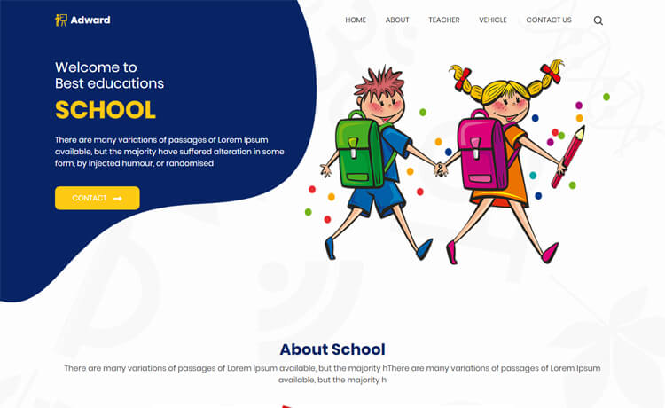 Free Bootstrap 4 HTML5 School Website Template
