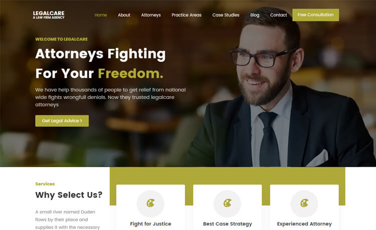 Free Bootstrap 4 HTML5 Responsive Law Firm Website Template