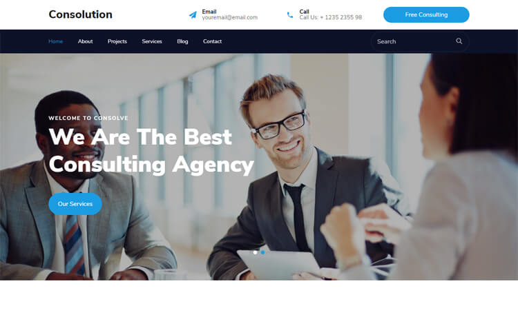 Free Bootstrap 4 HTML5 Consulting Business Website Template