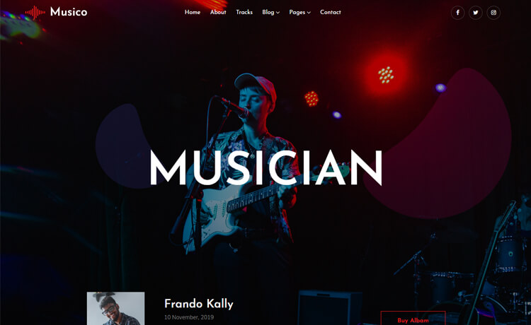 Free Bootstrap 4 HTML5 Music Website Template