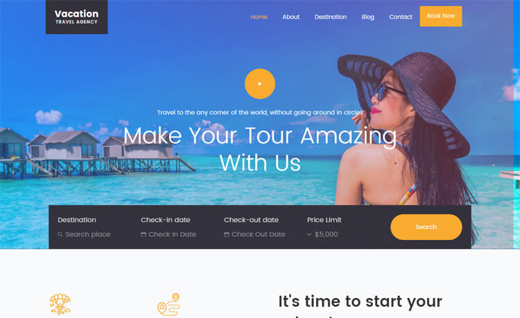 Free Bootstrap 4 HTML5 Responsive Travel Agency Website Template