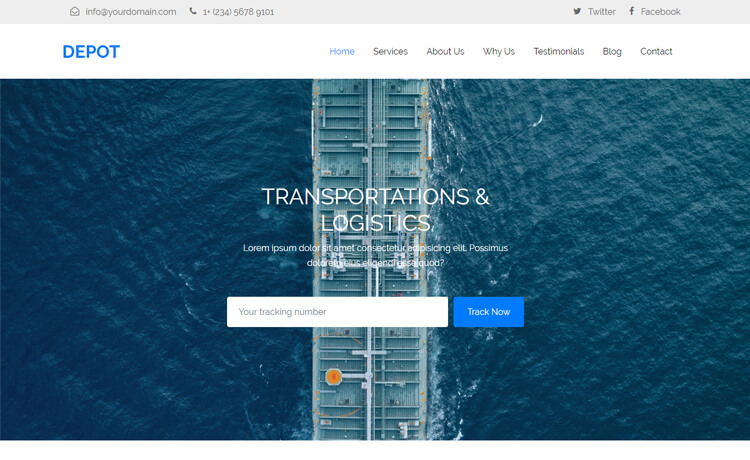 Free Bootstrap 4 HTML5 Transportation Website Template