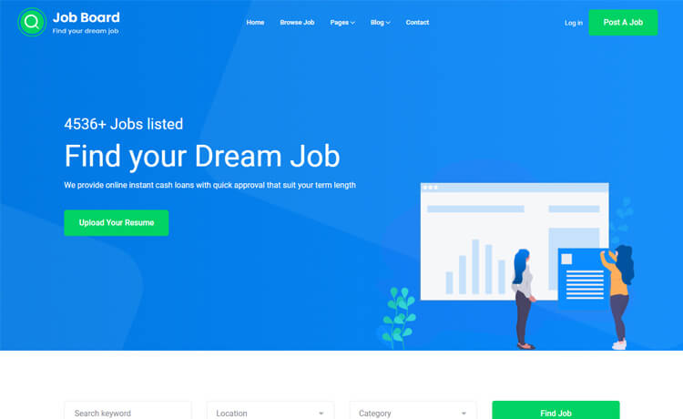 Free Bootstrap 4 HTML5 Job Board Website Template