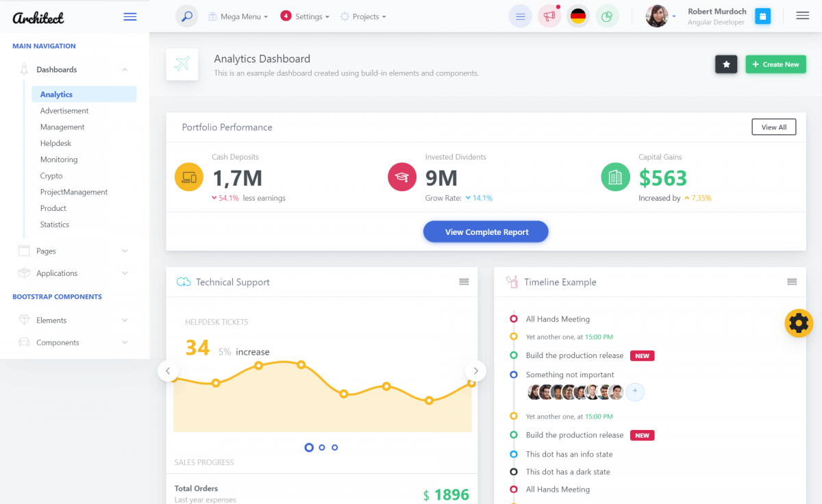 Free Bootstrap 4 Angular 7 Admin Dashboard Template