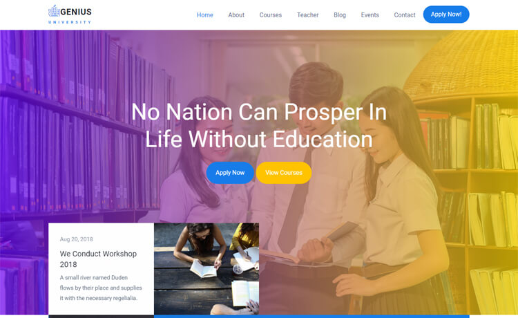 Free Bootstrap 4 HTML5 Responsive Education Website Template