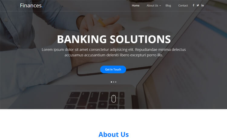 Free Bootstrap 4 HTML5 One-page Banking Website Template