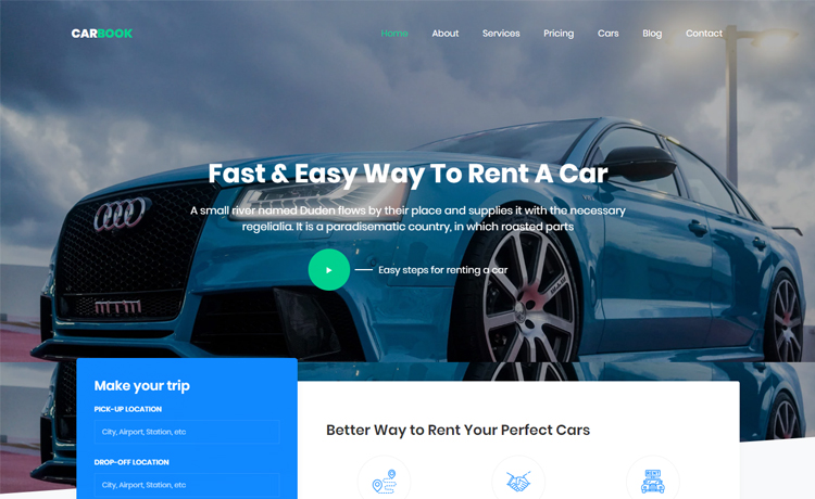Free Bootstrap 4 HTML5 Car Rental Website Template