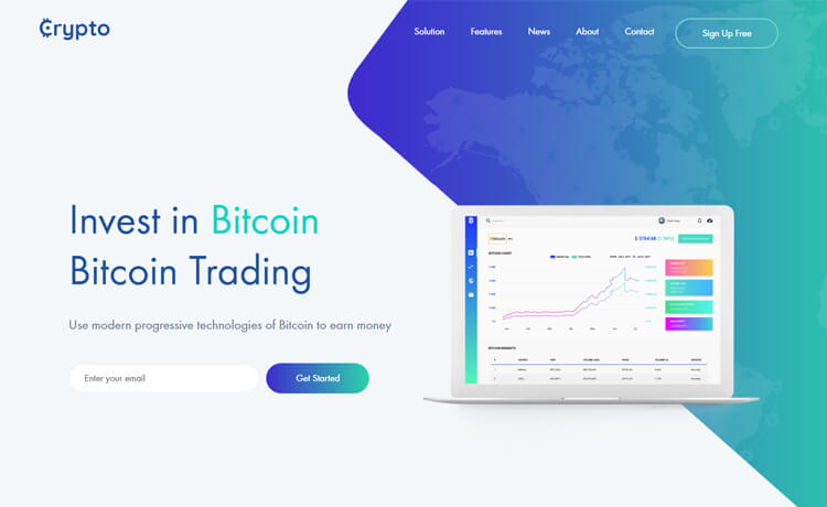 Free Bootstrap 4 HTML5 Cryptocurrency Website Template