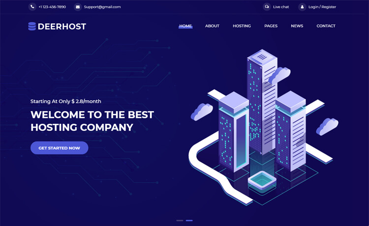 Free Bootstrap 4 HTML5 Hosting Website Template