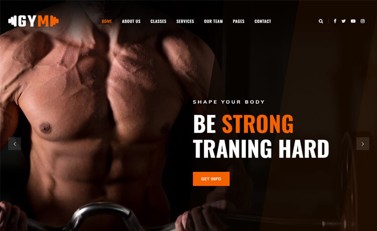 Free Bootstrap 4 HTML5 Gym Website Template