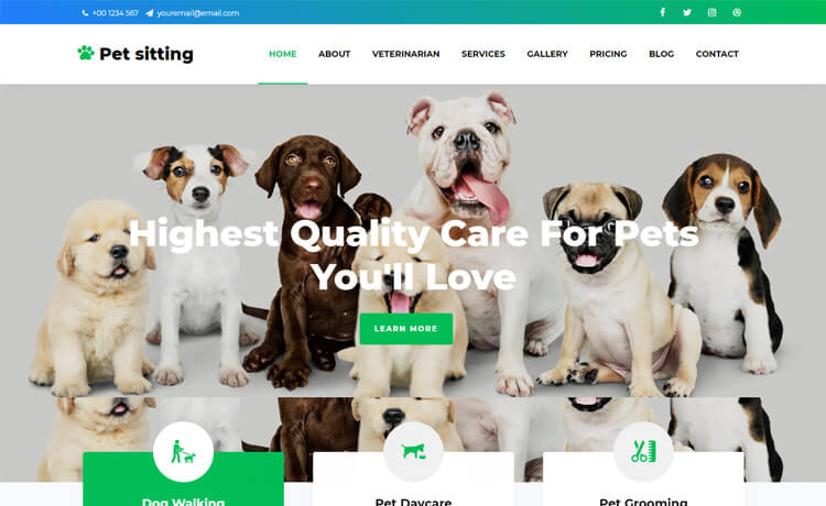 Free Bootstrap 4 HTML5 Pet & Animal Services Website Template