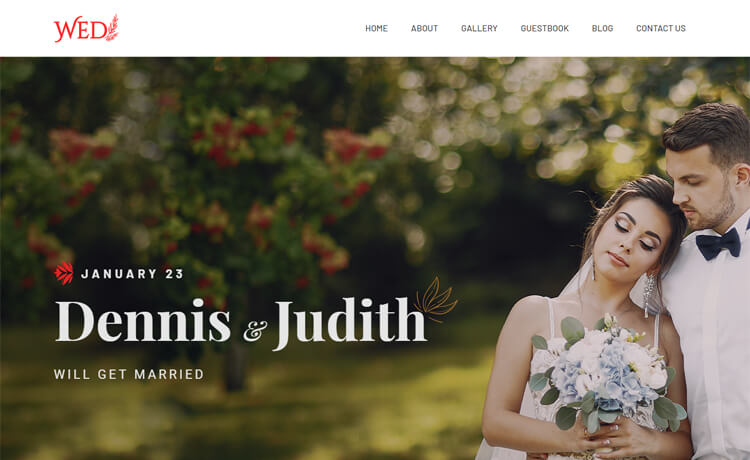 Free Bootstrap 4 HTML5 Wedding Website Template
