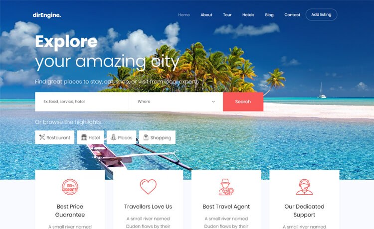 Free Bootstrap 4 HTML5 Responsive Tourism Website Template