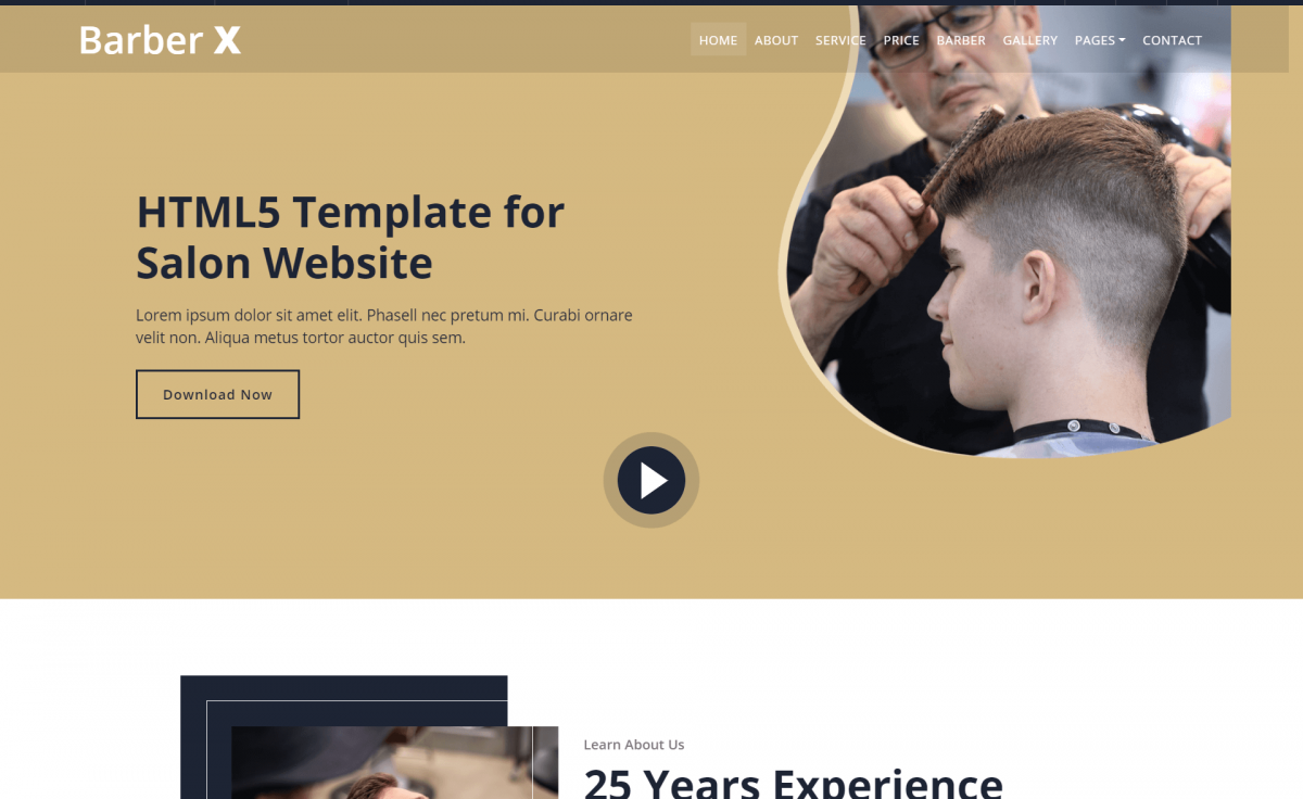 Free Responsive Bootstrap 4 HTML5 Barber Website Template