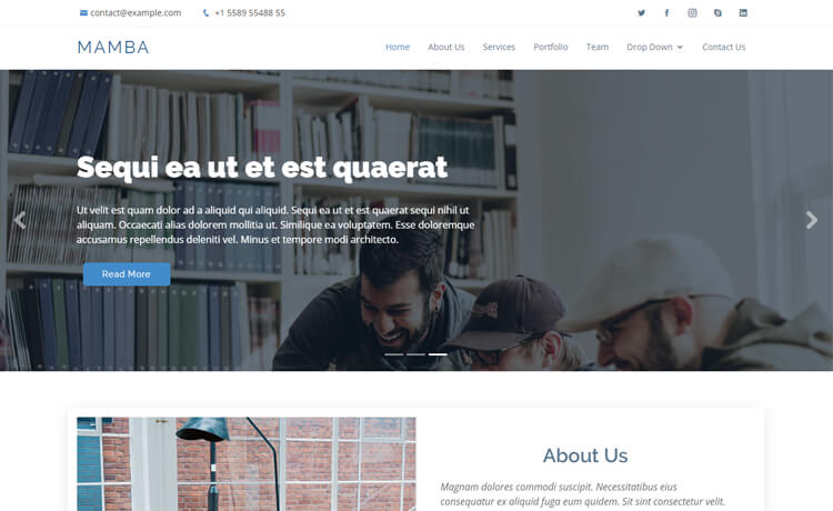Free Bootstrap 4 HTML5 One-page Portfolio Website Template