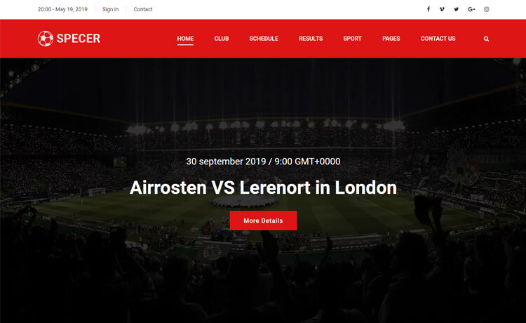 Free Bootstrap 4 HTML5 Sports Website Template