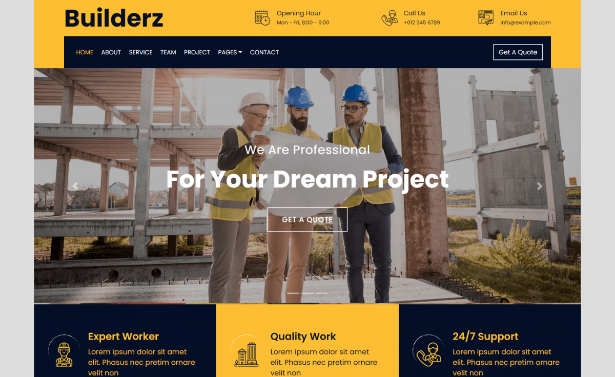 Free Bootstrap 4 HTML5 Construction Company Website Template