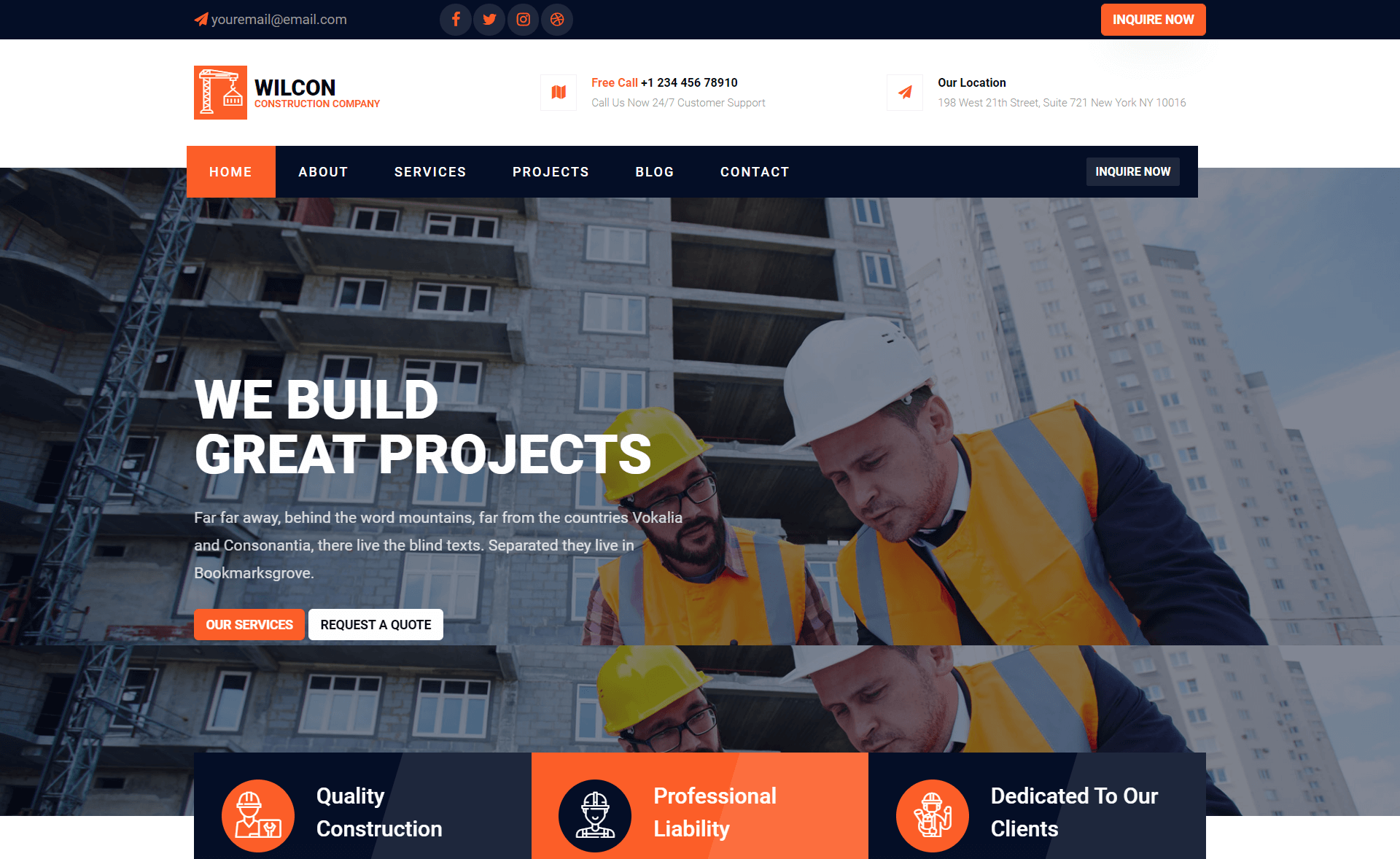 Free Bootstrap 4 HTML5 Construction Business Website Template
