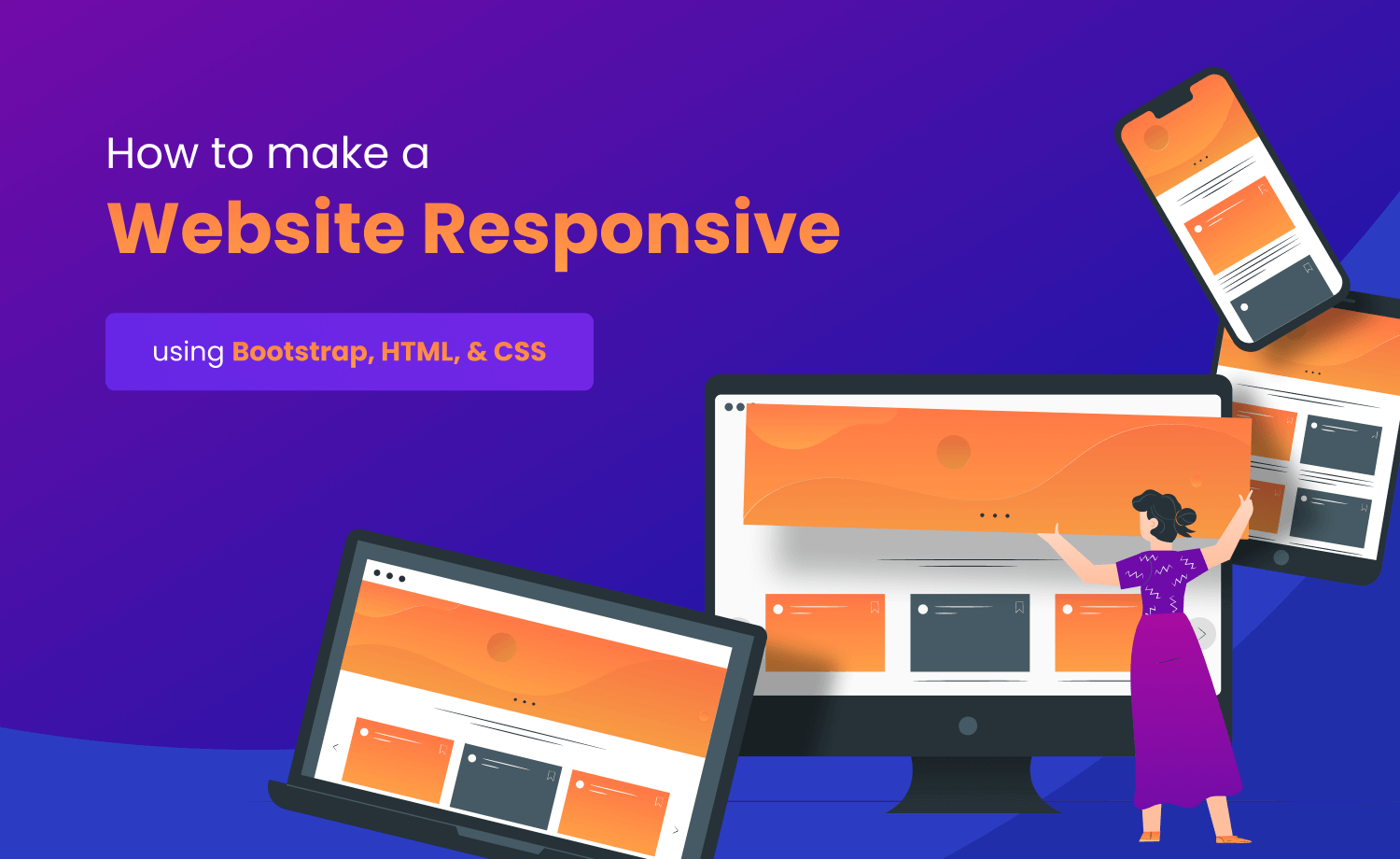how to make a website responsive using bootstrap, html and css