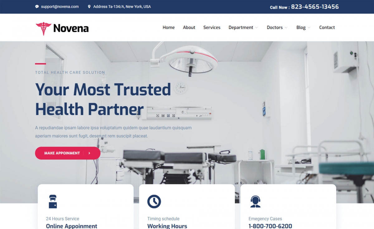 Free Bootstrap 4 HTML5 Healthcare Website Template