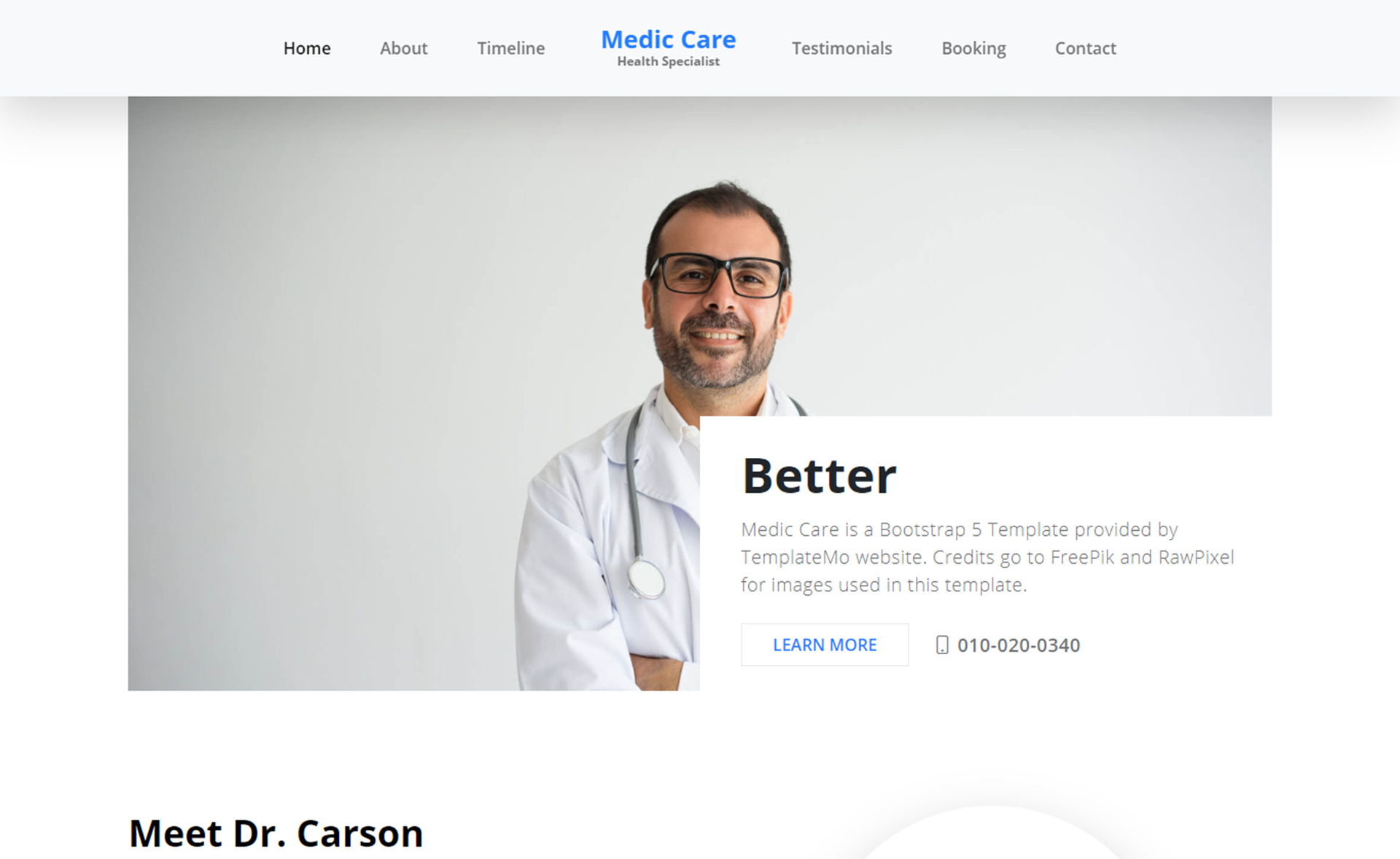 Free Bootstrap 5 HTML5 Healthcare Website Template